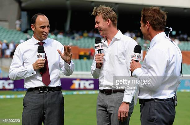 Sky Sports commentators Nasser Hussain Brett Lee and Ian Ward during day four of the Second Ashes Test Match between Australia and England at...