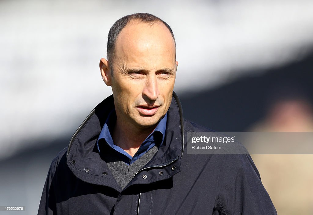Sky Sports cricket commentator <a gi-track='captionPersonalityLinkClicked' href=/galleries/search?phrase=Nasser+Hussain&family=editorial&specificpeople=171724 ng-click='$event.stopPropagation()'>Nasser Hussain</a> at the NatWest T20 Blast between Durham Jets and Birmingham Bears at Emirates Durham ICG, on June 06, 2015 in Chester-le-Street, England.