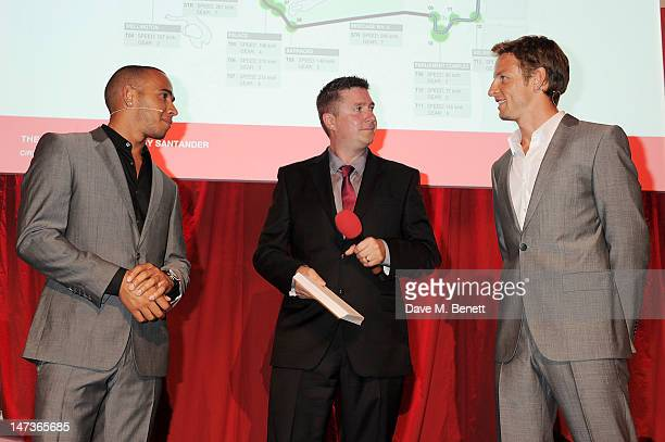 Sky Sports F1 HD Commentator David Croft speaks with F1 Drivers Lewis Hamilton and Jenson Button at the launch of the London Grand Prix by Santander...