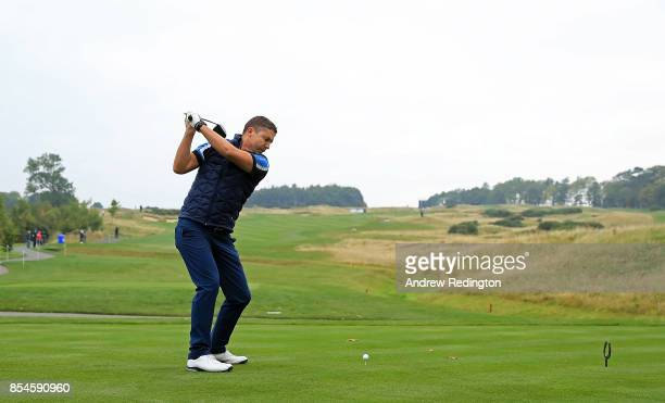Sky Sports Managing Director Barney Francis tees off during the pro am ahead of the British Masters at Close House Golf Club on September 27 2017 in...