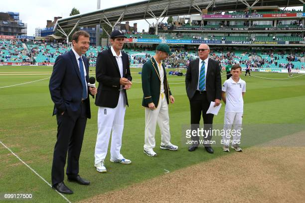 Sky Sports Michael Atherton with England captain Alastair Cook and Australia captain Michael Clarke prior to the coin toss