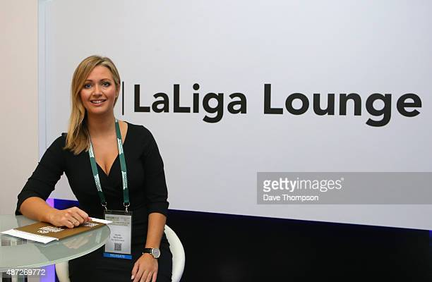 Sky Sports presenter Hayley McQueen during day four of the Soccerex Global Convention at Manchester Central on September 8 2015 in Manchester England