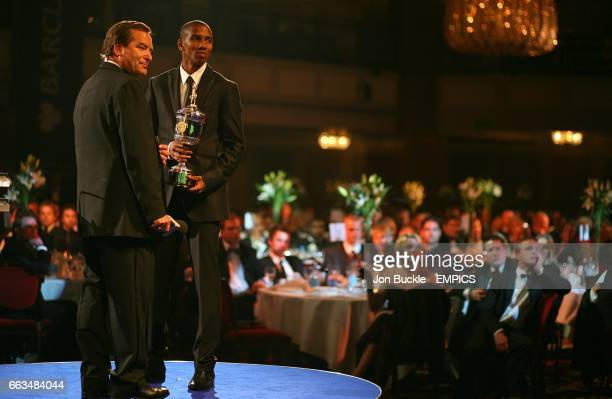 Sky sports presenter Jeff Stelling on stage with Young Player winner Ashley Young at the PFA Player of the Year Awards 2009 at the Grosvenor House...