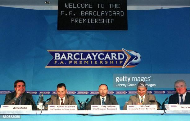 Sky Sports Presenter Richard Keys FA Premier League Chief Executive Richard Scudamore Chief Executive of Barclaycard Gary Hoffman Barclaycard's...