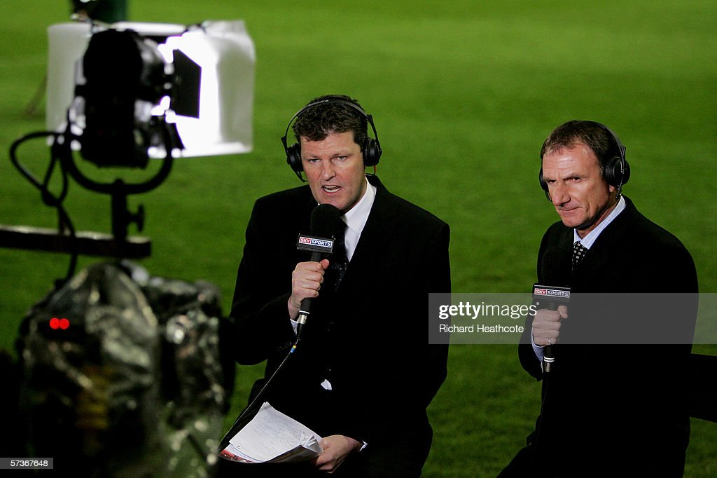 Sky Sports presenter Rob McCaffrey and ex Liverpool player and coach Phil Thompson commentate on the game during the FA Youth Cup Final 1st Leg match...