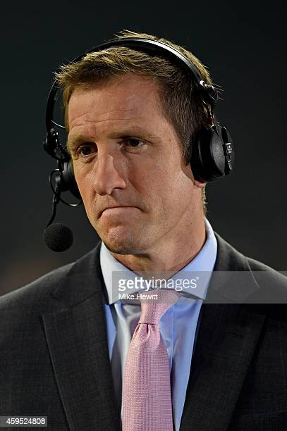 Sky Sports presenter Will Greenwood is seen during the QBE international match between England and Samoa at Twickenham Stadium on November 22 2014 in...