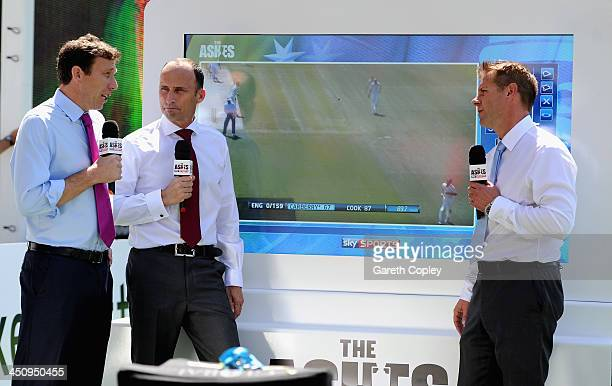 Sky Sports presenters Michael Atherton Nasser Hussain and Ian Ward during day one of the First Ashes Test match between Australia and England at The...