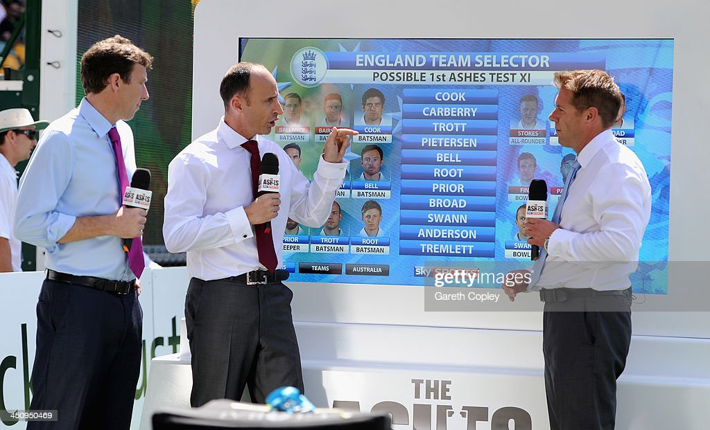 Sky Sports presenters Michael Atherton, <a gi-track='captionPersonalityLinkClicked' href=/galleries/search?phrase=Nasser+Hussain&family=editorial&specificpeople=171724 ng-click='$event.stopPropagation()'>Nasser Hussain</a> and Ian Ward during day one of the First Ashes Test match between Australia and England at The Gabba on November 21, 2013 in Brisbane, Australia.