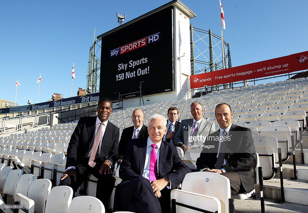 Sky Sports presenters (L-R) <a gi-track='captionPersonalityLinkClicked' href=/galleries/search?phrase=Michael+Holding&family=editorial&specificpeople=532045 ng-click='$event.stopPropagation()'>Michael Holding</a>, David Lloyd, <a gi-track='captionPersonalityLinkClicked' href=/galleries/search?phrase=David+Gower&family=editorial&specificpeople=587623 ng-click='$event.stopPropagation()'>David Gower</a>, Michael Atherton, Sir <a gi-track='captionPersonalityLinkClicked' href=/galleries/search?phrase=Ian+Botham&family=editorial&specificpeople=207145 ng-click='$event.stopPropagation()'>Ian Botham</a> and <a gi-track='captionPersonalityLinkClicked' href=/galleries/search?phrase=Nasser+Hussain&family=editorial&specificpeople=171724 ng-click='$event.stopPropagation()'>Nasser Hussain</a> pose ahead of the broadcast of their 150th live test match between England and Pakistan at The Brit Insurance Oval on August 18, 2010 in London, England.