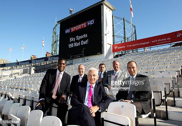Sky Sports presenters Michael Holding David Lloyd David Gower Michael Atherton Sir Ian Botham and Nasser Hussain pose ahead of the broadcast of their...