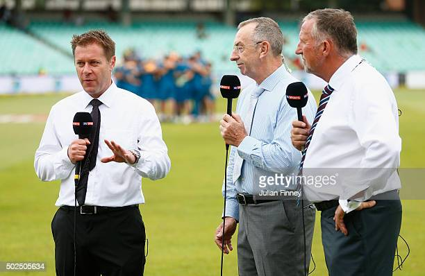 Sky Sports team Ian Ward David Lloyd and Sir Ian Botham are seen during day one of the 1st Test between South Africa and England at Sahara Stadium...