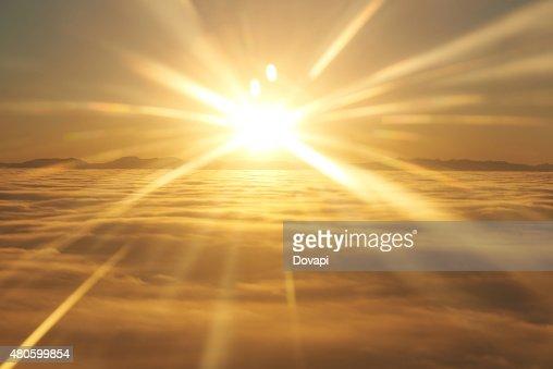 Sky, sunset sun and clouds : Stock Photo