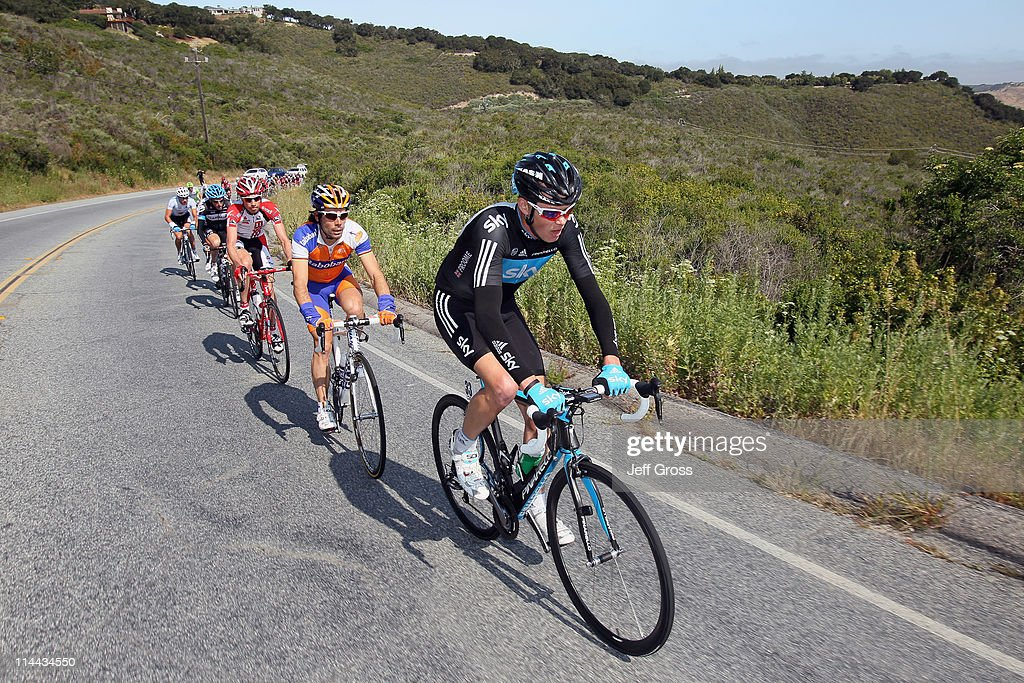 Sky team rider Christopher Froome of Great Britain (R) leads the peloton during stage five of the 2011 AMGEN Tour of California from Seaside to Paso Robles on May 19, 2011 in Seaside, California.