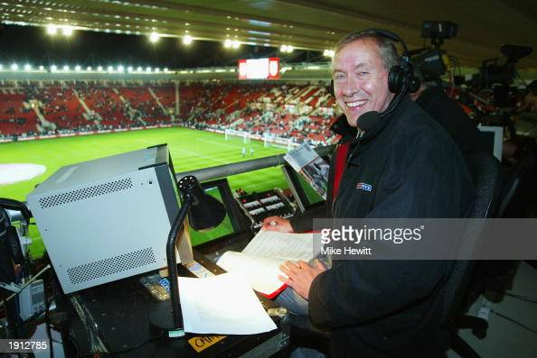 Sky television commentator Martin Tyler in the commentary box before the Euro 2004 Championship Qualifying match between England and Macedonia on...
