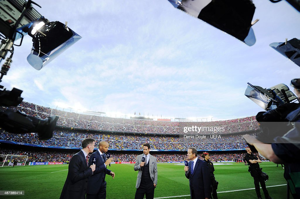Sky TV pundits Jamie Carragher Thierry HenryJamie Redknapp and presenter Jeff Stelling during the UEFA Champions League semifinal match between FC...