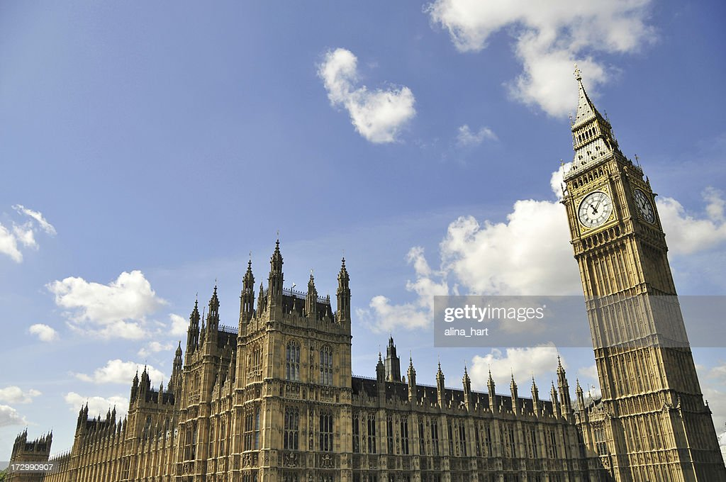 Sky view above the Houses of Parliament square in London : Stock Photo