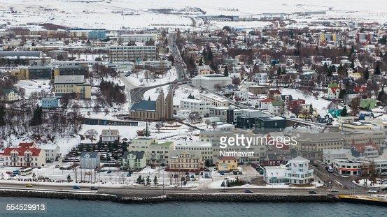 Sky View of Akureyri City