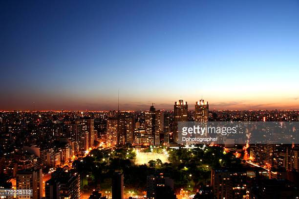 Sky view of Buenos Aires City during Sunrise