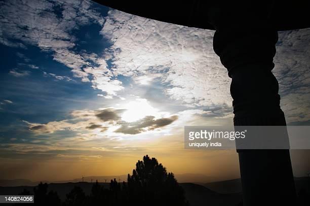 Sky viewed from a shrine, Srivari Padalu, Narayanagiri Hill, Tirupati, Chittoor District, Andhra Pradesh, India