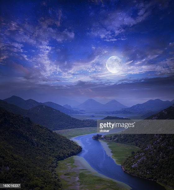 Sky with stars on the Montenegro lake