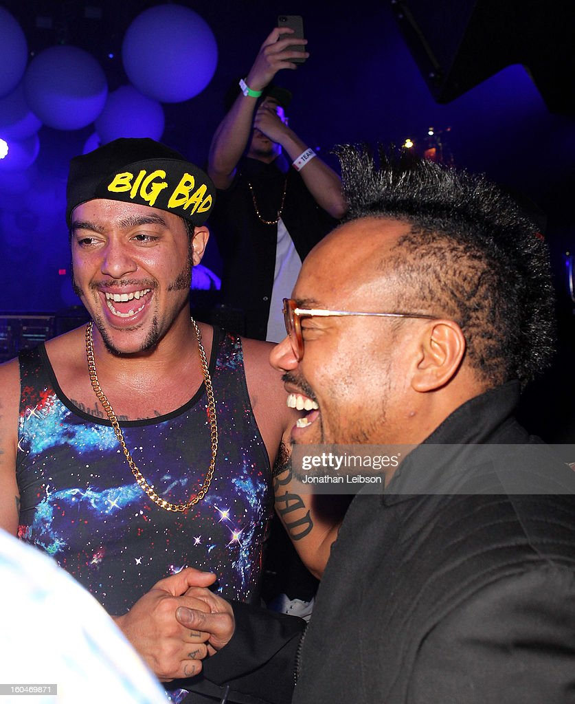 SkyBlu and apl.de.ap at the SkyBlu 'Pop Bottles' Single Release Party at Lure on January 31, 2013 in Hollywood, California.