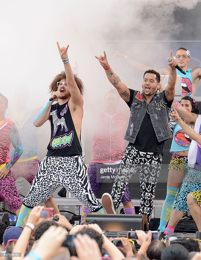 SkyBlu and <a gi-track='captionPersonalityLinkClicked' href=/galleries/search?phrase=Redfoo&family=editorial&specificpeople=5857552 ng-click='$event.stopPropagation()'>Redfoo</a> of <a gi-track='captionPersonalityLinkClicked' href=/galleries/search?phrase=LMFAO&family=editorial&specificpeople=5419624 ng-click='$event.stopPropagation()'>LMFAO</a> perform on ABC's 'Good Morning America' at Rumsey Playfield, Central Park on June 29, 2012 in New York City.