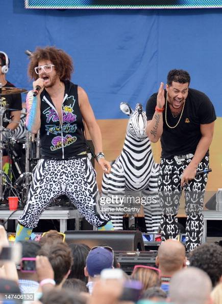 SkyBlu and Redfoo of LMFAO perform on ABC's 'Good Morning America' at Rumsey Playfield Central Park on June 29 2012 in New York City