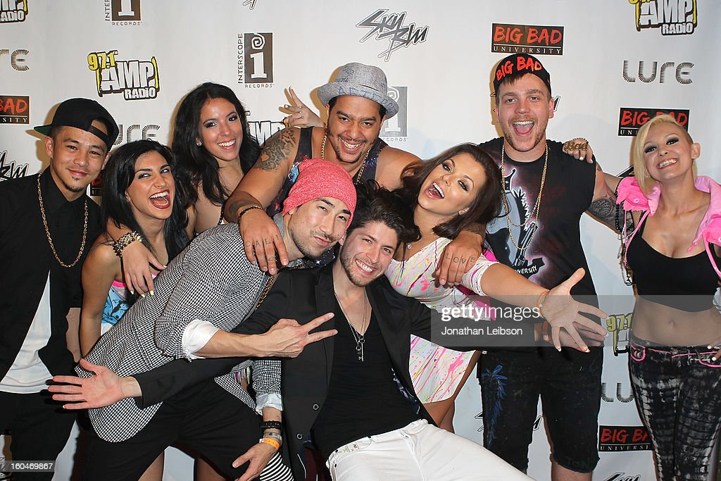 SkyBlu (C), Chelsea Korka and the Big Bad Crew pose at the SkyBlu 'Pop Bottles' Single Release Party at Lure on January 31, 2013 in Hollywood, California.