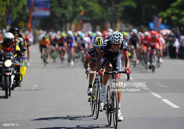 Skydive Dubai pro Cycling Team cyclist leads the peleton during stage 4 of the 2014 Tour de Singkarak on June 10 2014 in Padang Indonesia