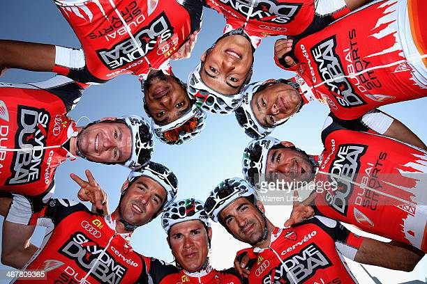 Skydive Dubai Pro Cycling Team pose for a pictured ahead of stage four of the 2014 Dubai Tour on February 8 2014 in Dubai United Arab Emirates