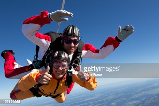 Skydive tandem passenger having a great time