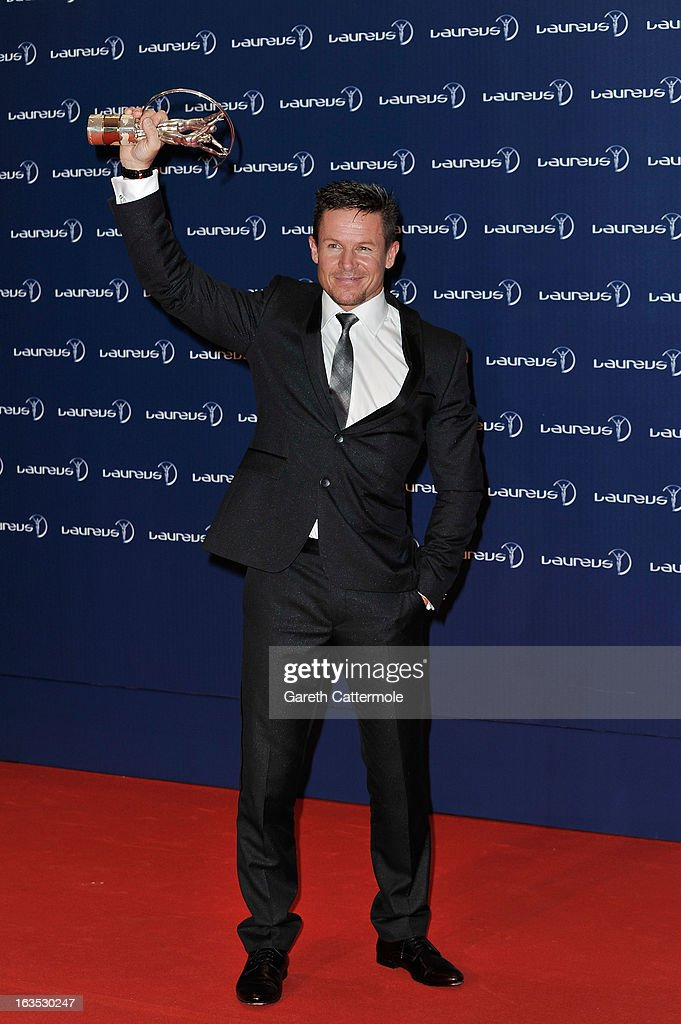 Skydiver Felix Baumgartner poses with his trophy for' Laureus World Action Sportsperson of the Year' attends the Winners Press Conferences Photocall...