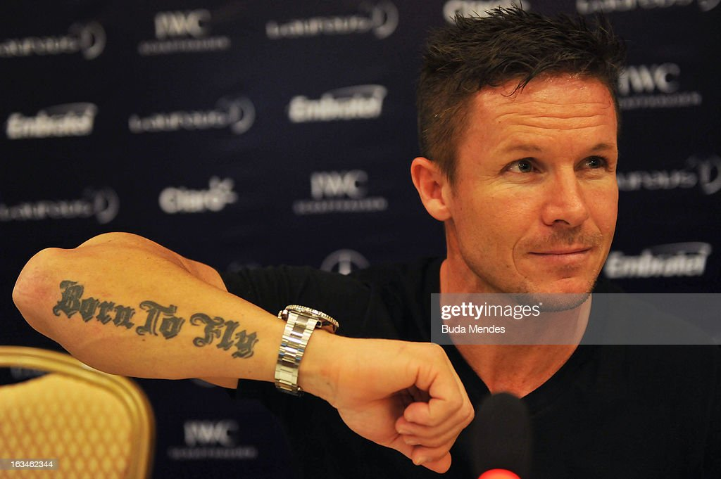 Skydiver Felix Baumgartner talks during a press conference at the Windsor Atlantic Hotel during day 2 of the 2013 Laureus World Sports Awards on March 9, ... - skydiver-felix-baumgartner-talks-during-a-press-conference-at-the-picture-id163462344