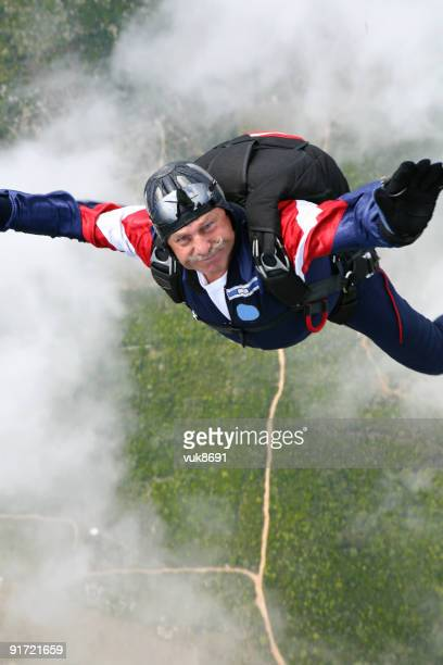 Skydiver in a cloud