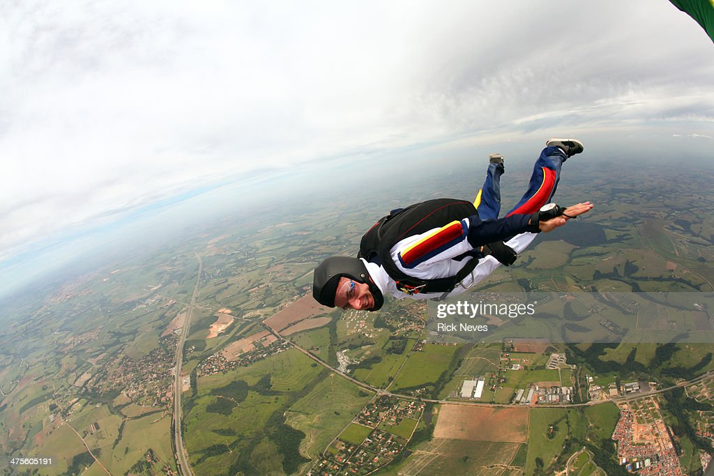 Skydiver in freefall : Stock Photo