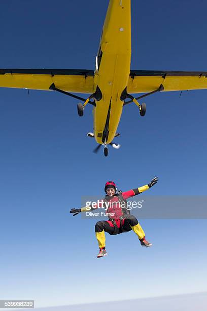 Skydiver jumping at 14'000 ft altitude