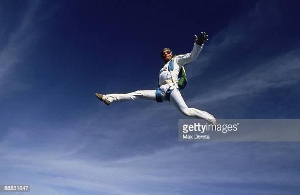 Skydiver posing while free falling