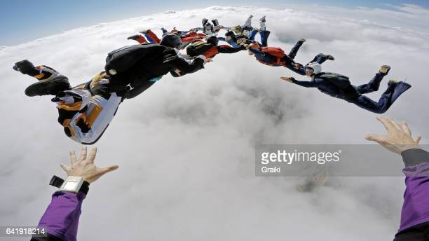 Skydiver reaching the target pov