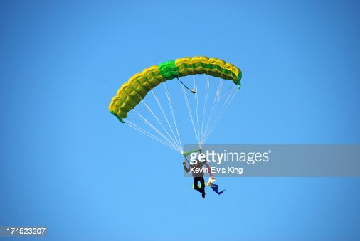 Skydiver Under Parachute, Dusk