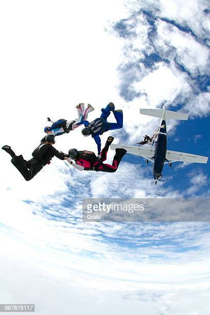 Skydivers group exit from the plane