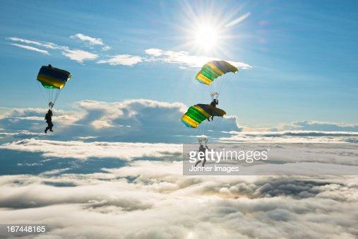 Skydivers in mid-air
