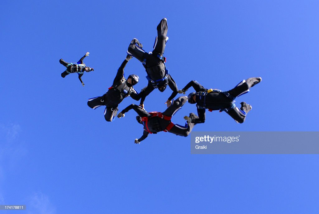 Skydiving 4 way team : Stock Photo