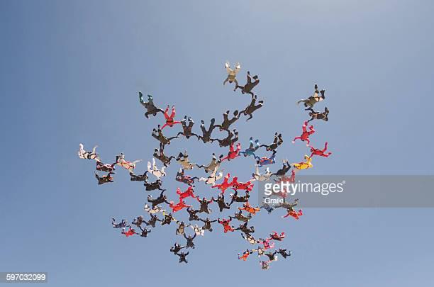 Skydiving big group formation