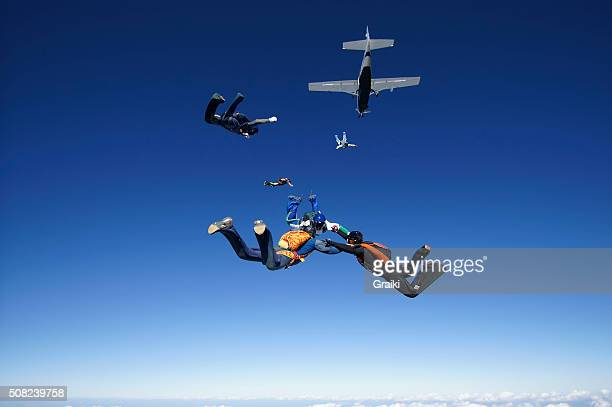 Skydiving friends having fun