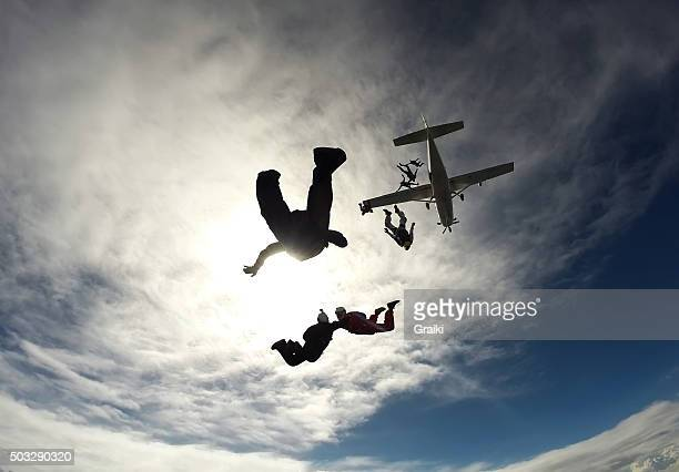 Skydiving group jumping from the plane