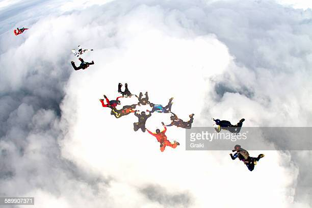 Skydiving group of people
