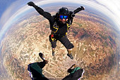 Skydiving smiling woman