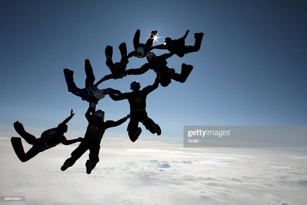 Skydiving team : Stock Photo