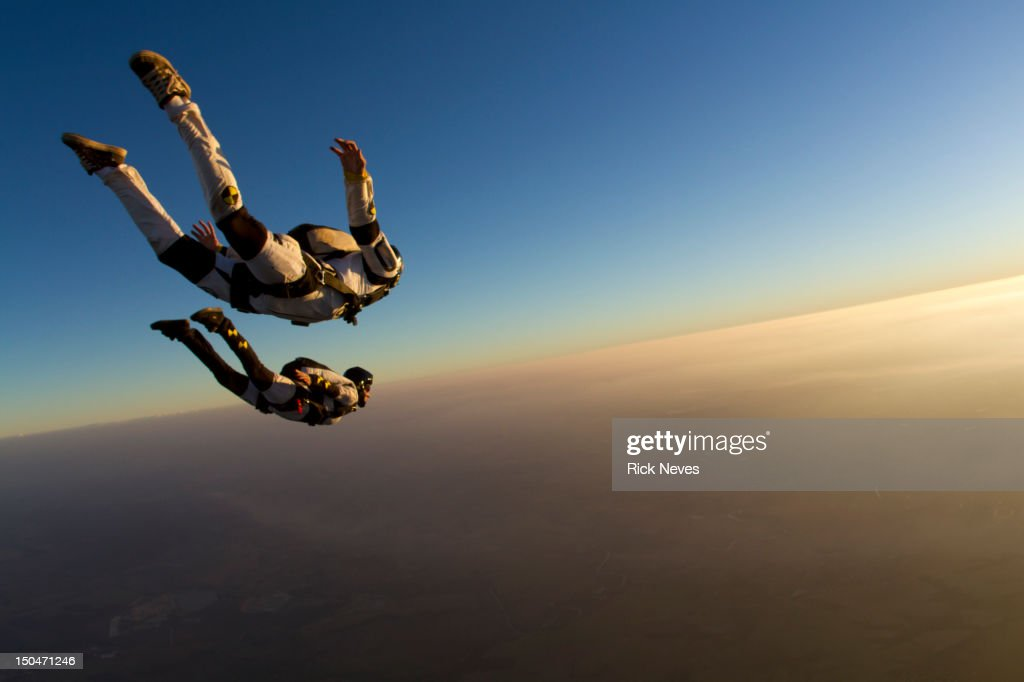 Skydiving track sunset