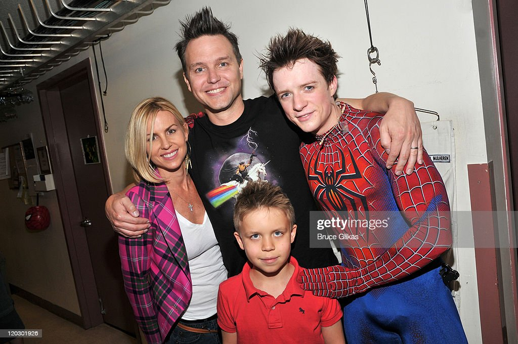 Skye Everly, husband <a gi-track='captionPersonalityLinkClicked' href=/galleries/search?phrase=Mark+Hoppus&family=editorial&specificpeople=211529 ng-click='$event.stopPropagation()'>Mark Hoppus</a> of Blink-182, son Jack Hoppus and Matthew James Thomas as 'Spider-Man' pose backstage at the hit musical 'Spider-Man:Turn Off The Dark' on Broadway at The Foxwoods Theater on August 3, 2011 in New York City.
